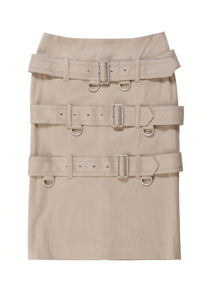 A skirt is decorated belts with buckles. stock photos