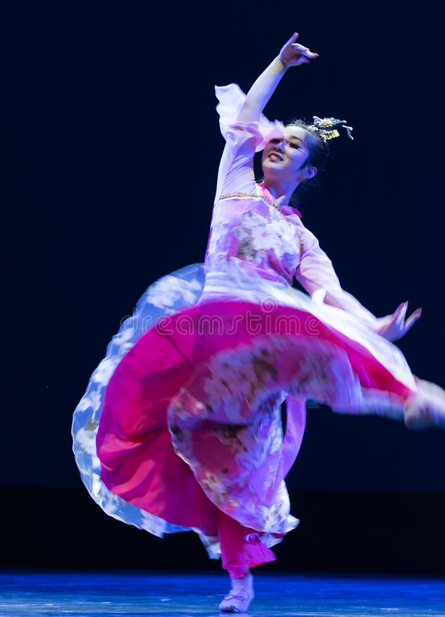 The skirt is flying-Pray for kindness-Modern dance royalty free stock images
