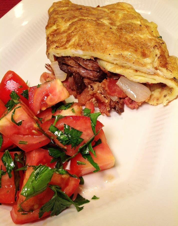 Skirt steak omelet royalty free stock images