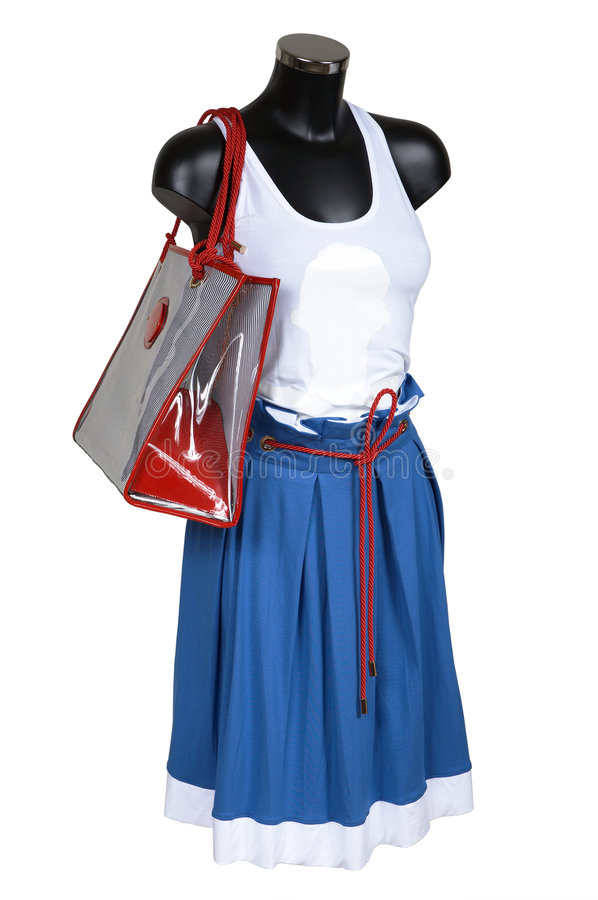 Skirt, vest and bag stock images