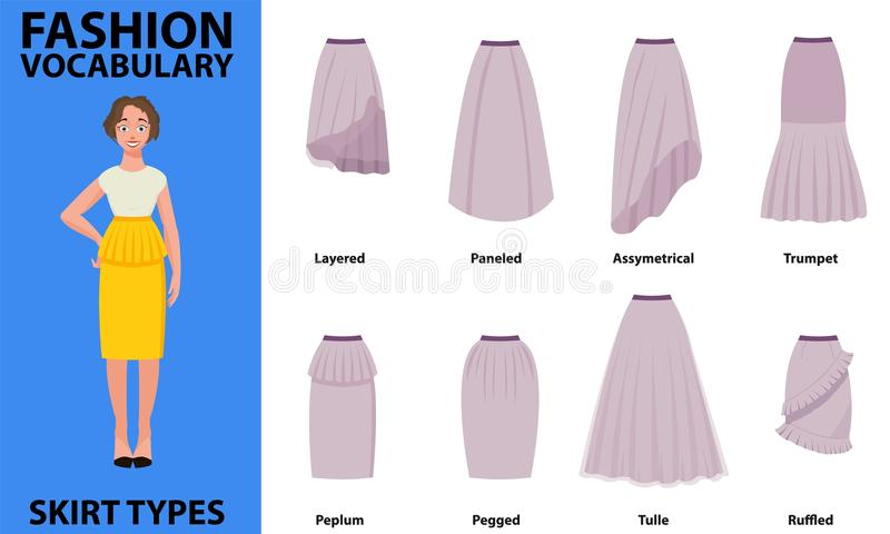 Skirt vocabulary collections of standard classic simple skirts. Many types of skirts sutable on nice model. Simple s royalty free illustration