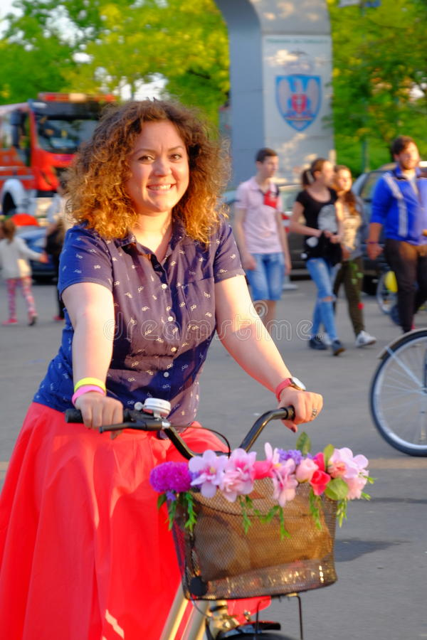 Skirtbike 2016 in Bucharest, Romania. The 7th edition Skirtbike. The event promotes both women empowerment, thus activating the Women's Rights in a modern stock images
