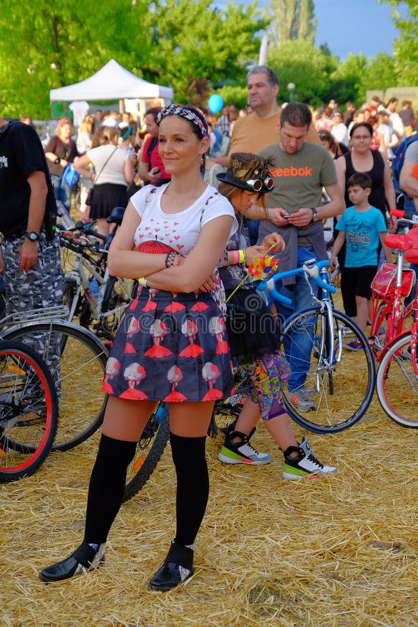 Skirtbike 2016 in Bucharest, Romania. The 7th edition Skirtbike. The event promotes both women empowerment, thus activating the Women's Rights in a modern royalty free stock photos