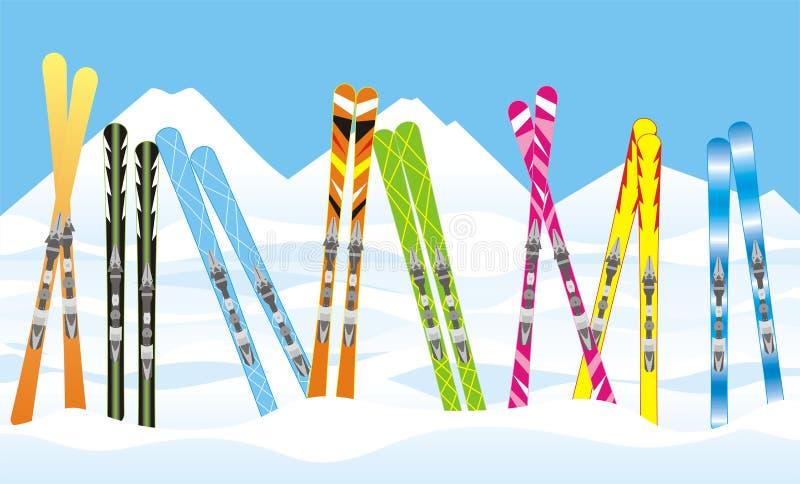 Skis in de sneeuw royalty-vrije illustratie