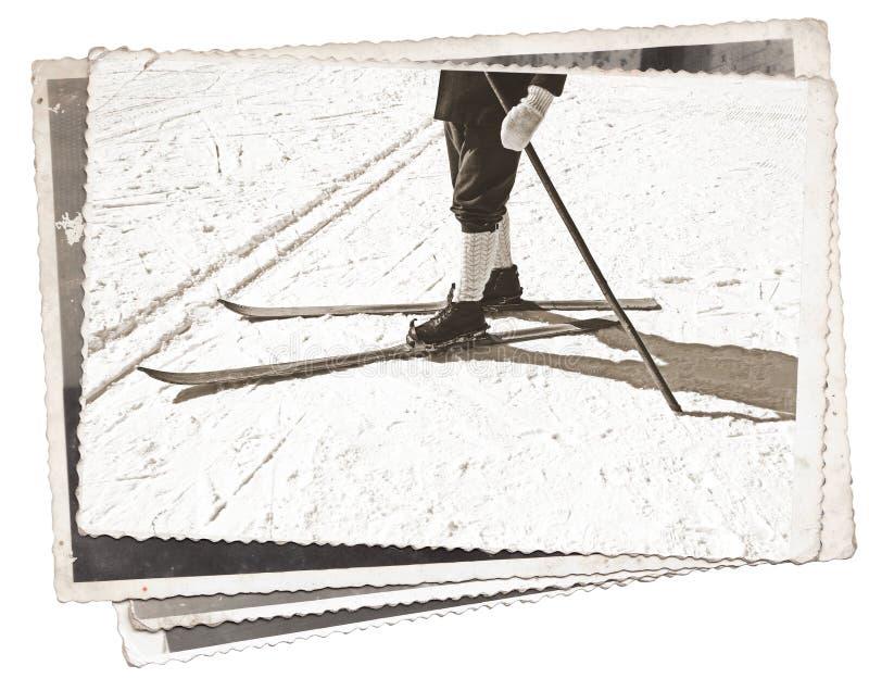 Skis et bottes de photos de vintage vieux photo stock