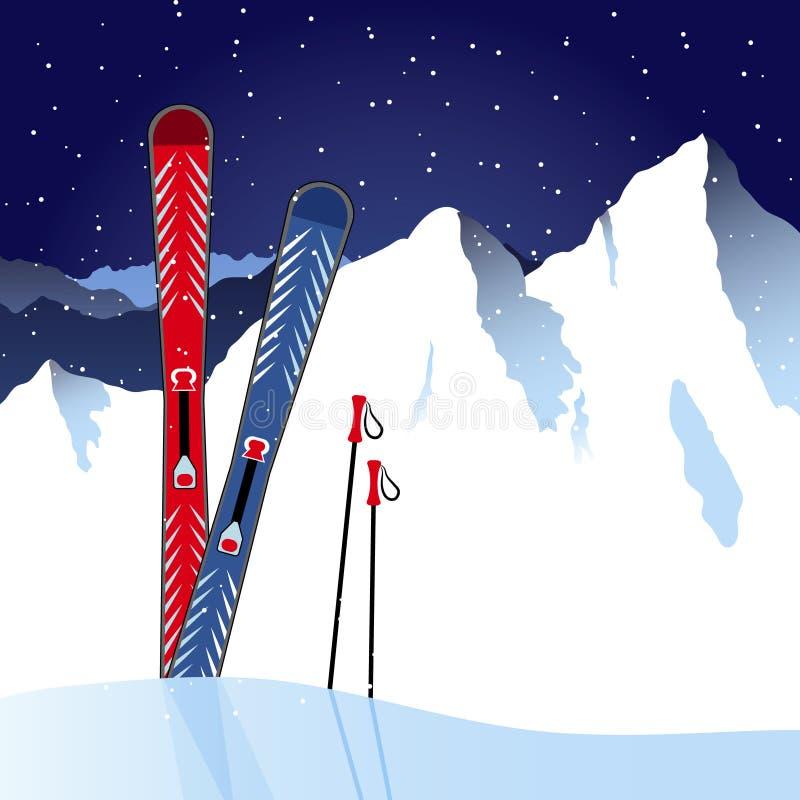Skis et poteaux de ski dans la neige illustration de vecteur
