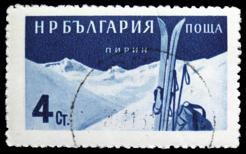 Skis and Pirin Mountains, Bulgarian Recreation Facilities and Places serie, circa 1958. MOSCOW, RUSSIA - MARCH 23, 2019: Postage stamp printed in Bulgaria shows royalty free stock photos