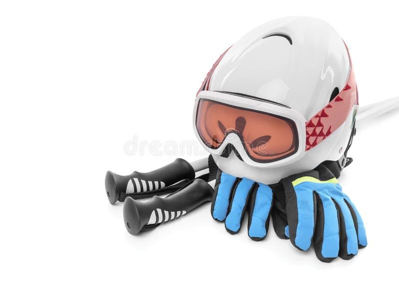 Skischuhhandschuhsturzhelm lokalisiert lizenzfreies stockfoto