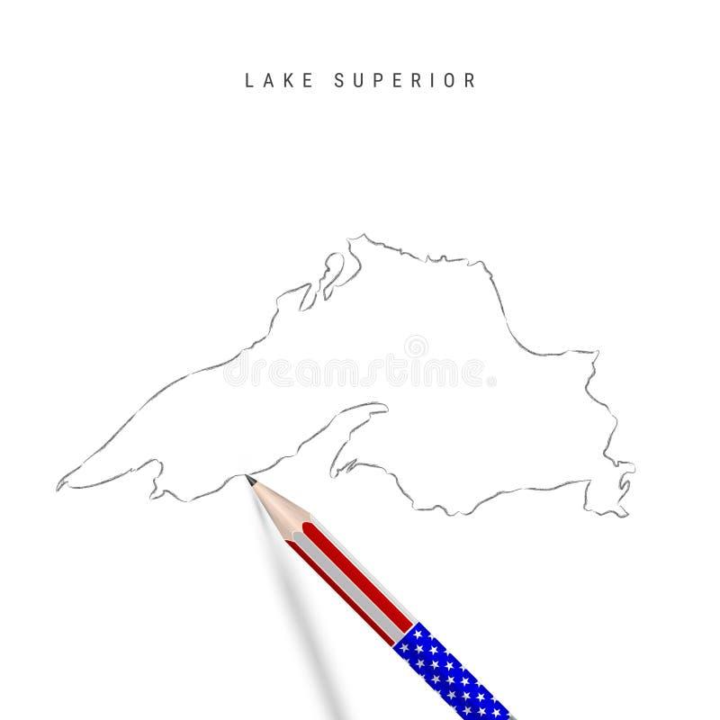 Skiss över överordnad vektorkarta för Lake Superior Sjöns översta konturkarta med blyertspenna i amerikanska flaggfärger vektor illustrationer