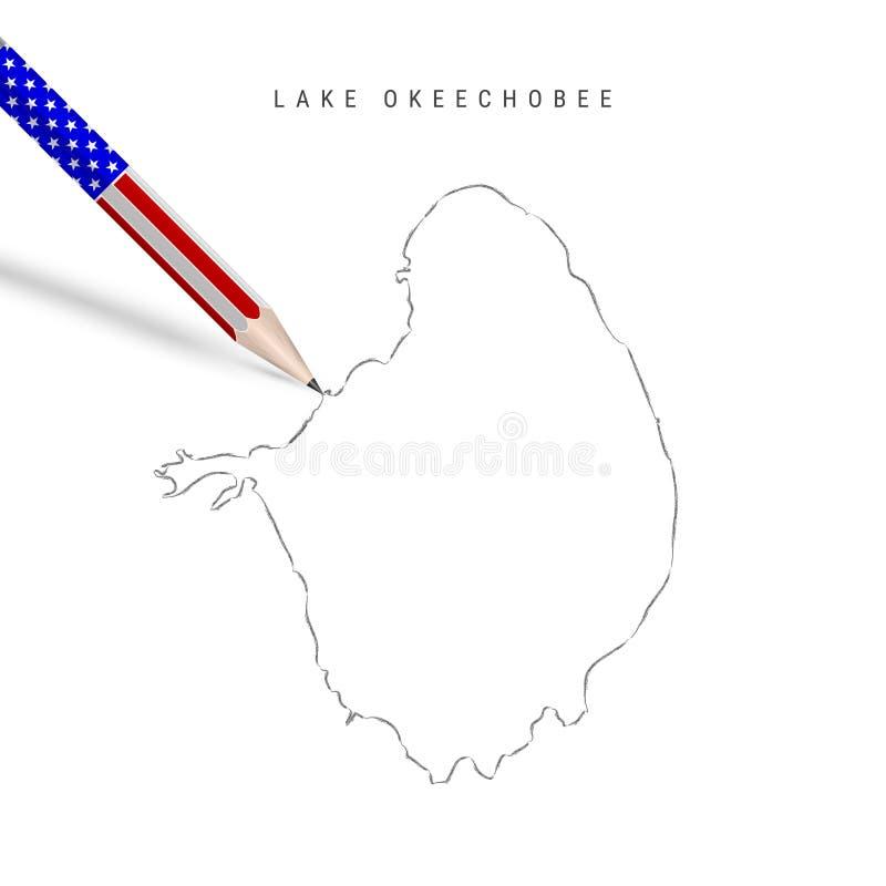 Skiss för färgen Okeechobee vektorgenkartong Lake Okeechobee-konturkarta med blyertspenna i amerikanska flaggfärger royaltyfri illustrationer