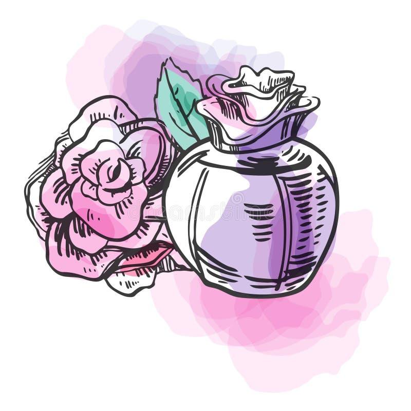 Skissa översiktsflaskan av kvinnlig doft med blomman och färgrika fläckar Tecknad illustration för vektor hand stock illustrationer