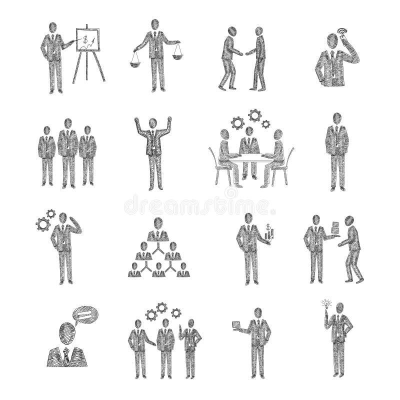 Skissa affärsfolk stock illustrationer