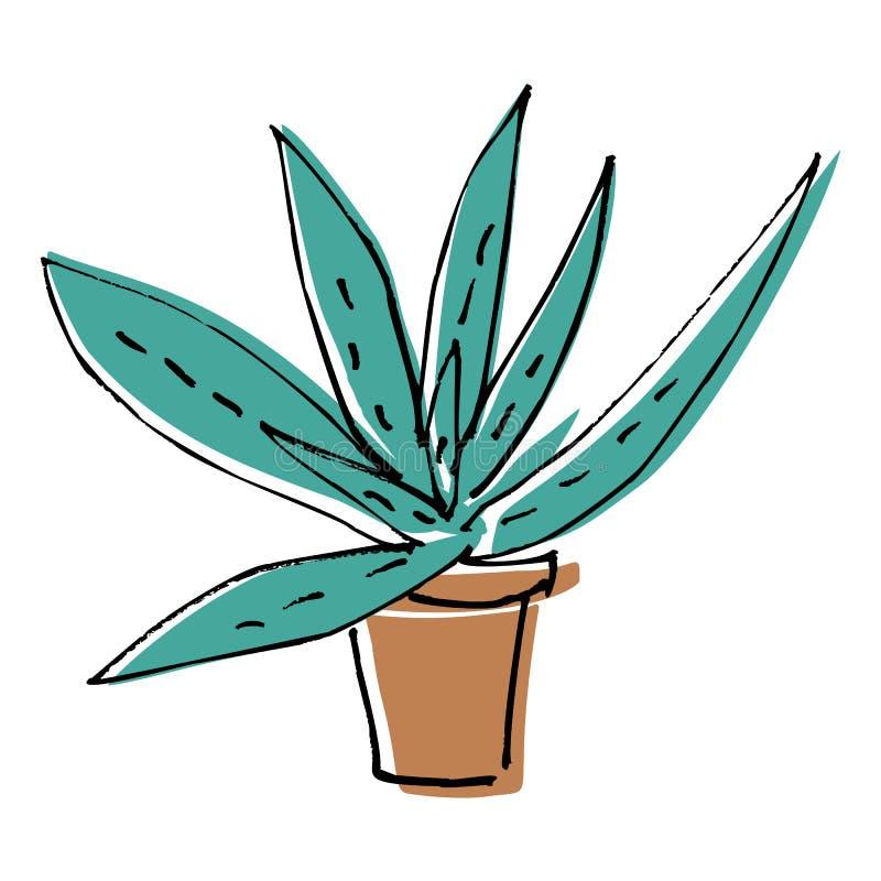 Skissa aloe för klotterhemgräsplan i brun kruka i plan tecknad filmfärg royaltyfri illustrationer