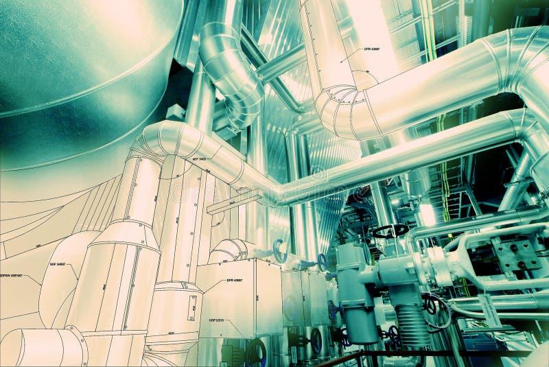 Skissa att leda i rör blandad industriell utrustning för designen stock illustrationer