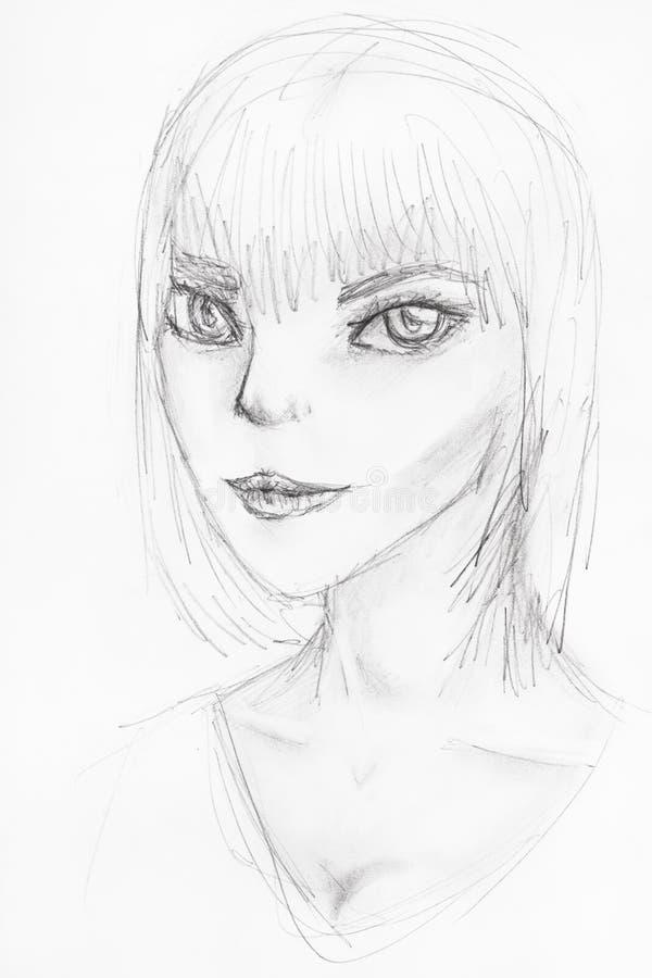 Skissa av anthropomorphic flicka med stora ögon vektor illustrationer