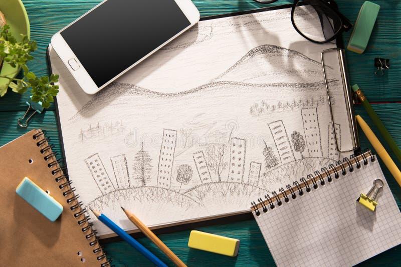 skissa av arkitektur på skrivbordet fotografering för bildbyråer