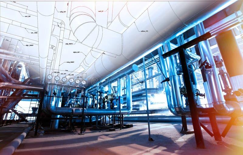 Skissa av att leda i rör design med foto för industriell utrustning arkivbilder