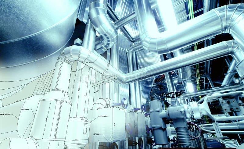 Skissa av att leda i rör design med fotoet för industriell utrustning royaltyfria foton