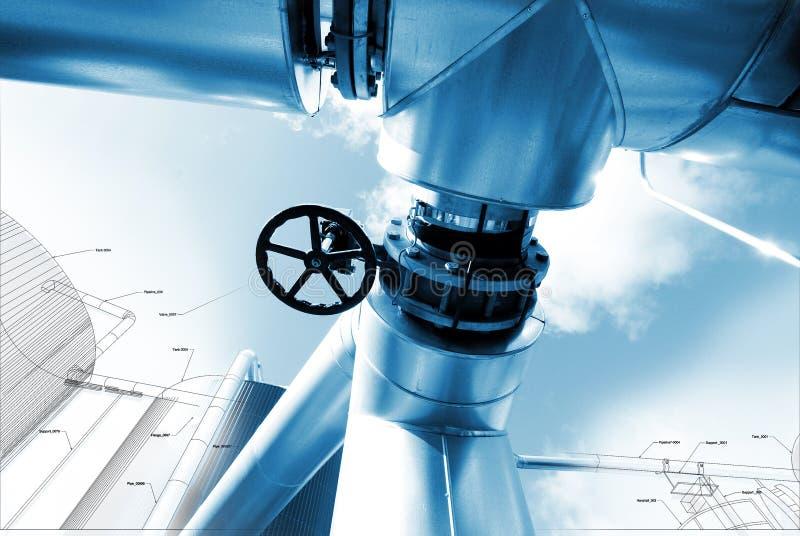Skissa av att leda i rör designen som är blandad med foto för industriell utrustning arkivbilder