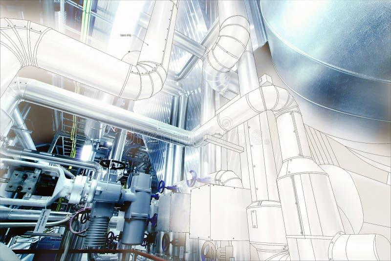 Skissa av att leda i rör designen som är blandad med stålrörledningar och ventiler royaltyfri bild
