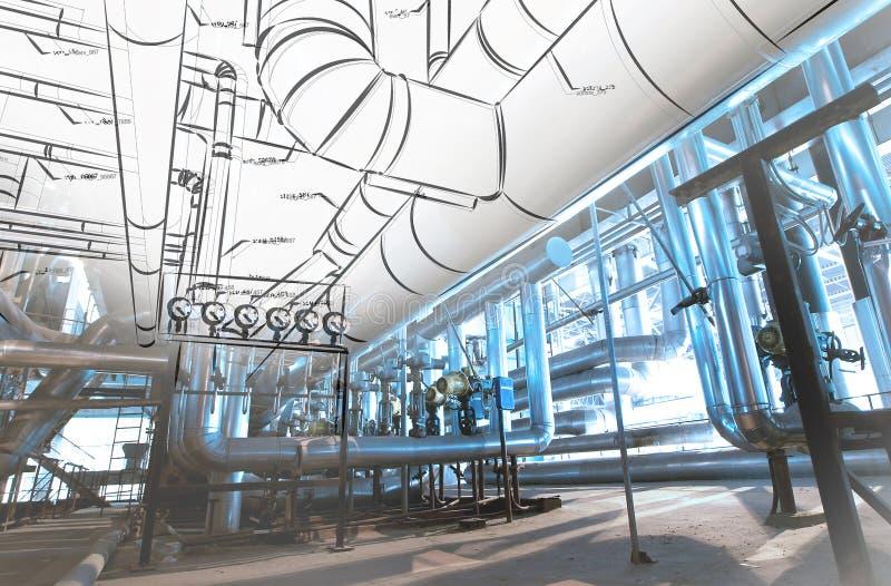 Skissa av att leda i rör designen som är blandad till foto för industriell utrustning royaltyfria foton