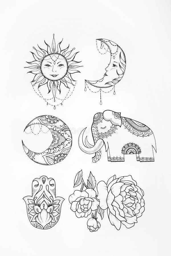 Skissa av bakgrund för vit för måne för elefantsolblomma royaltyfri illustrationer