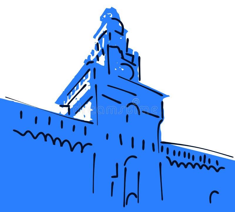 Skissa av Castelloen Sforzesco av Milan stock illustrationer