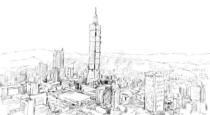 Skissa av cityscapeshowtownscape i Taiwan, Taipei byggnad royaltyfri illustrationer