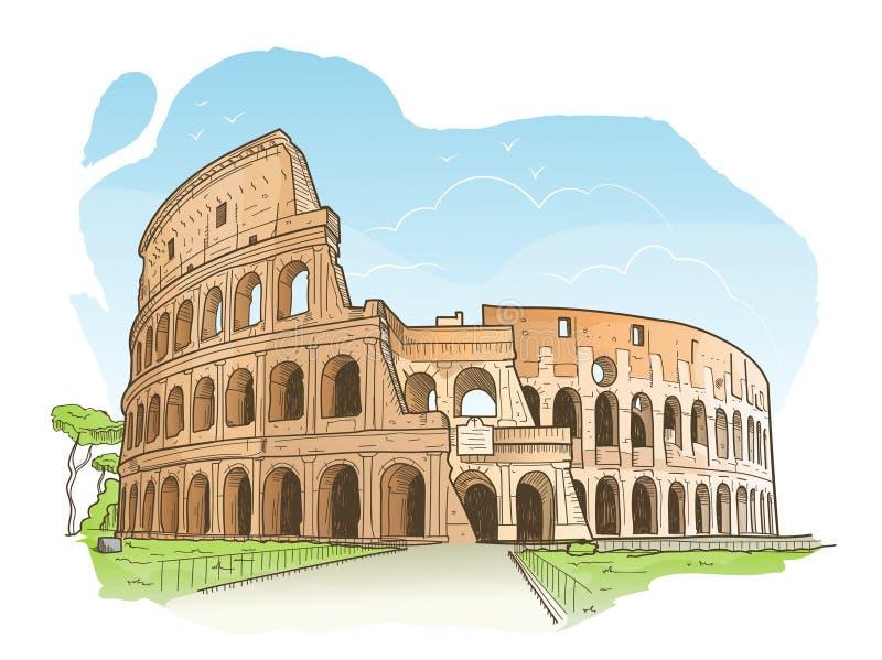 Skissa av Colosseumen, Rome royaltyfri illustrationer
