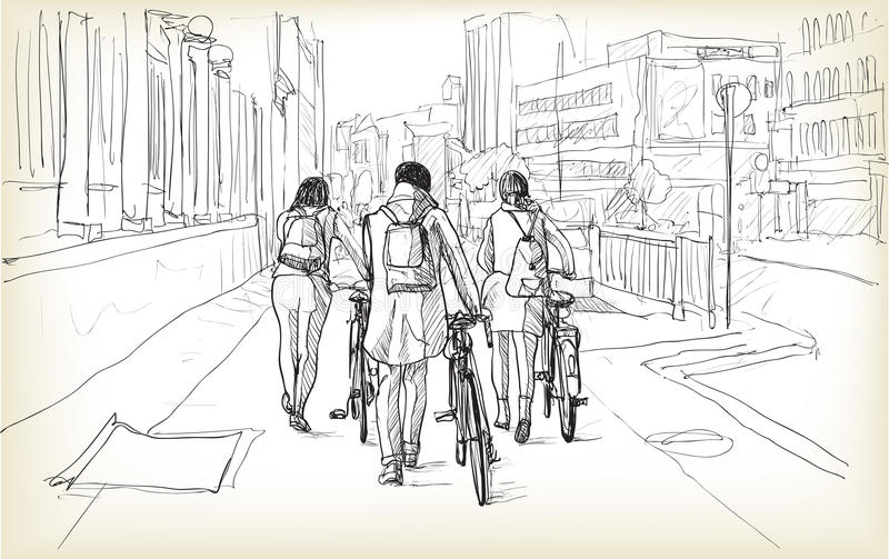 Skissa av cykelryttare i Berlin, fria händerattraktionillustration royaltyfri illustrationer