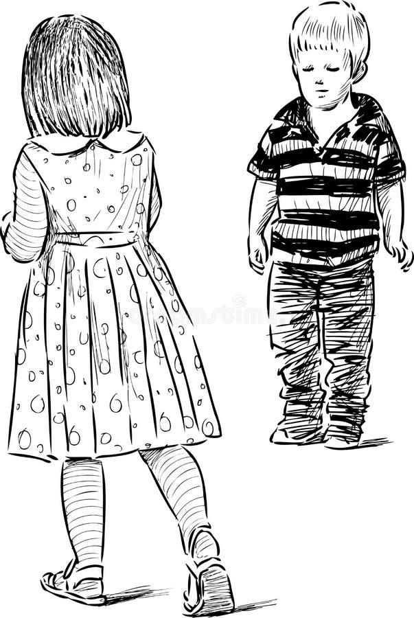 Skissa av de lilla ungarna royaltyfri illustrationer
