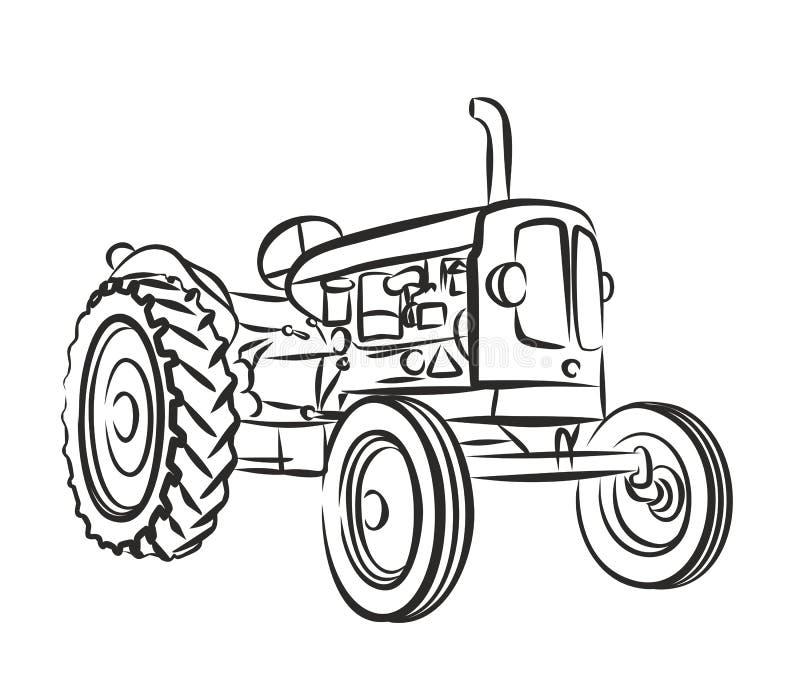 Skissa av den gamla traktoren vektor illustrationer