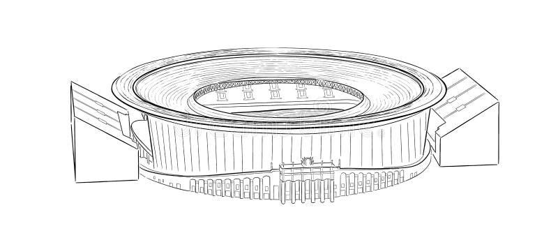 Skissa av den huvudsakliga stadion i Ekaterinburg vektor illustrationer