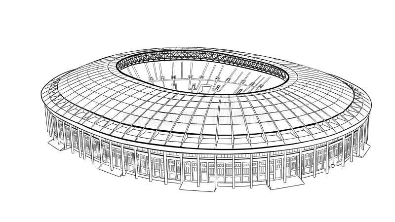 Skissa av den huvudsakliga stadion i Moskva stock illustrationer