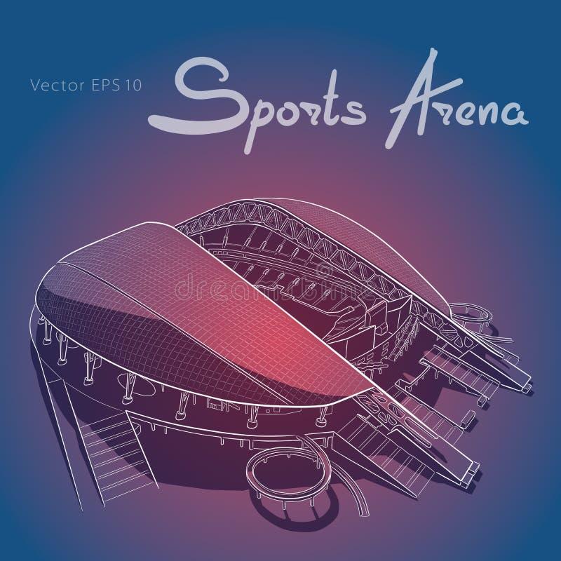 Skissa av den huvudsakliga stadion i Sochi vektor illustrationer