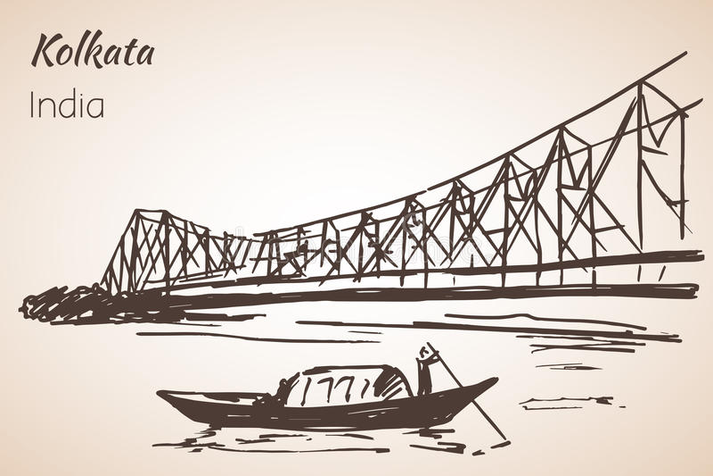 Skissa av den Kolkata för den indiska staden bron vektor illustrationer