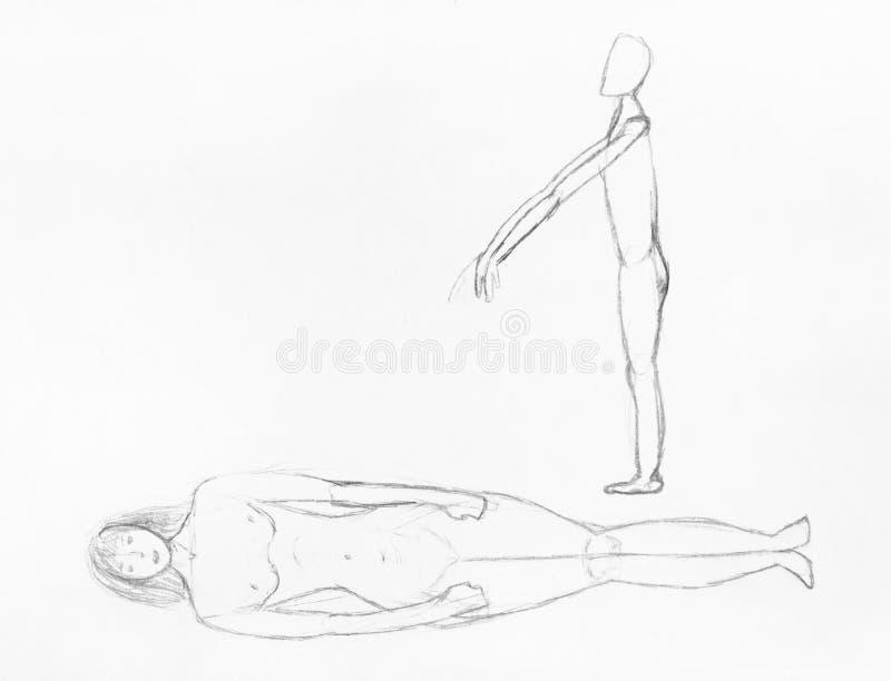 Skissa av den liggande människokroppen och levande död vid blyertspennan royaltyfri illustrationer
