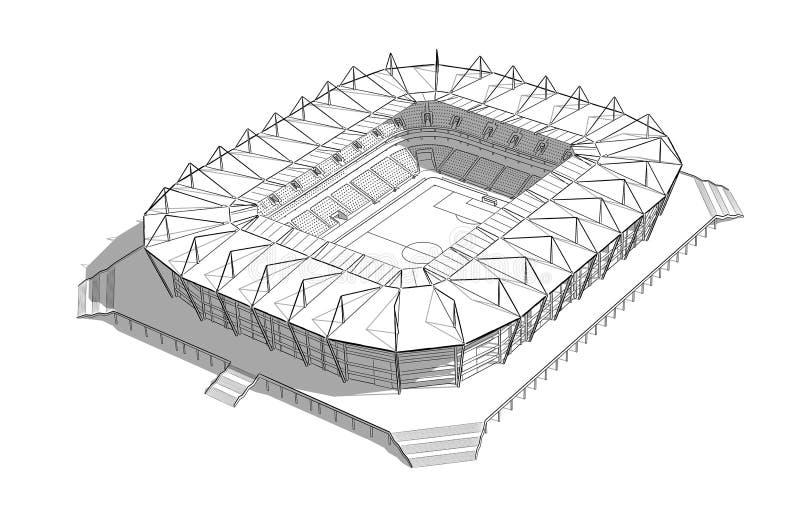 Skissa av den nya stadion i Kaliningrad stock illustrationer