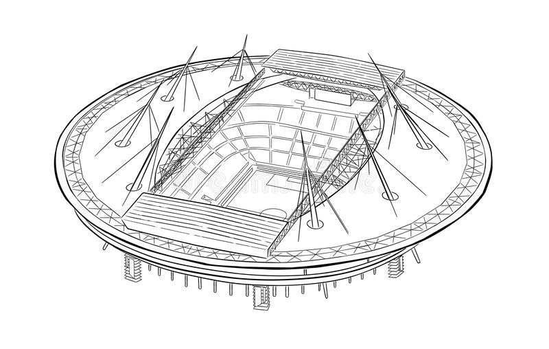 Skissa av den nya stadion i St Petersburg royaltyfri illustrationer