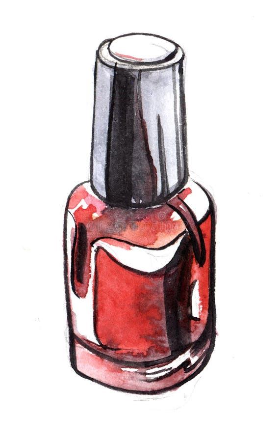 Skissa av den röda bubblan spikar polermedel Verklig vattenfärg Hand dragen il royaltyfri illustrationer