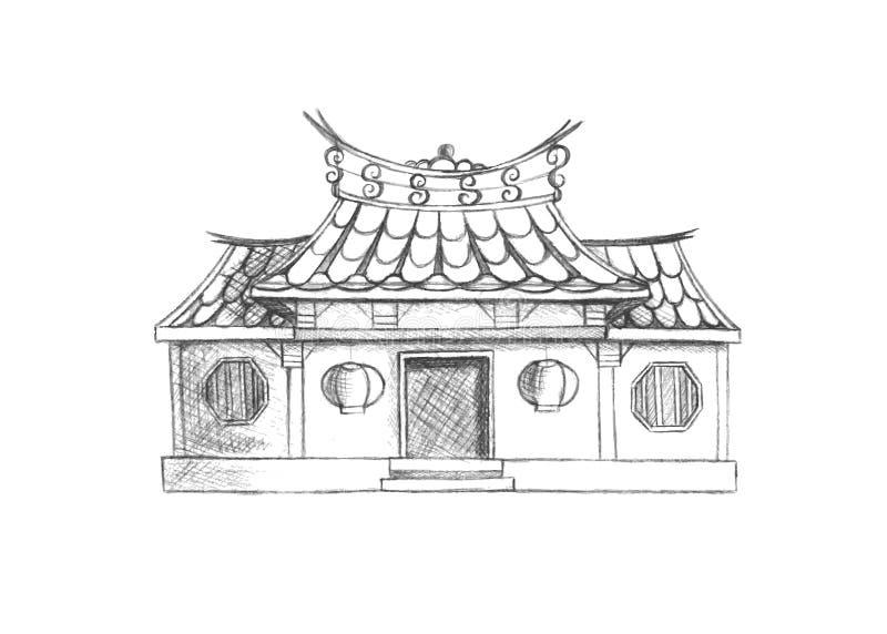 Skissa av den Taiwan templet askfat vektor illustrationer