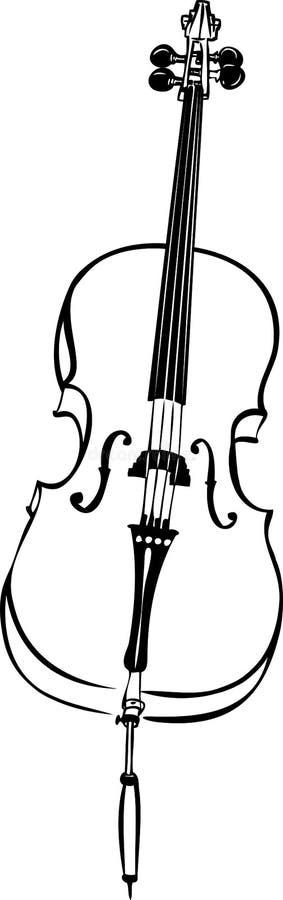 Skissa av det musikaliska stringed violoncell för rad instrumentet vektor illustrationer