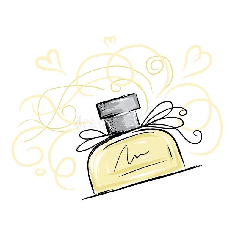 Skissa av doftflaskan för din design vektor illustrationer