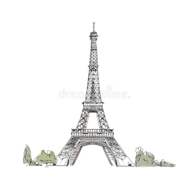 Skissa av Eiffeltorn Paris stock illustrationer