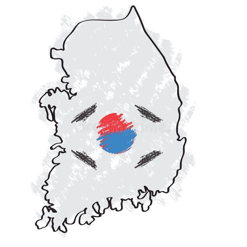 Skissa av en översikt av Sydkorea vektor illustrationer