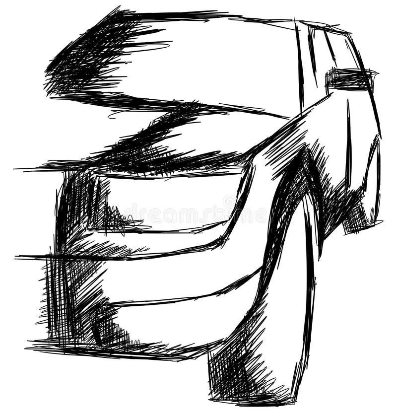 Skissa av en bil i svart vektor illustrationer
