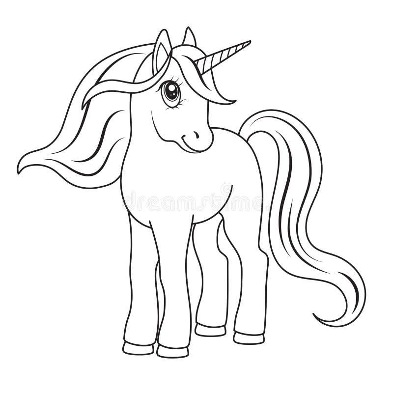 Skissa av en enhörning för att färga vektor illustrationer