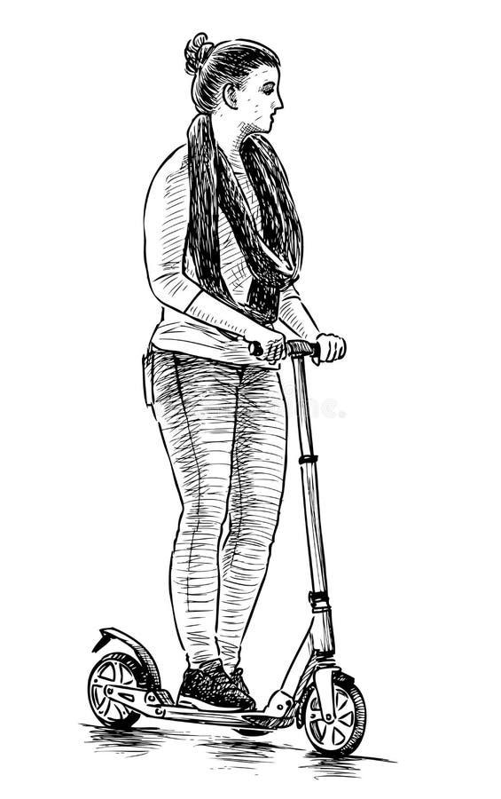 Skissa av en flicka som rider en sparkcykel stock illustrationer