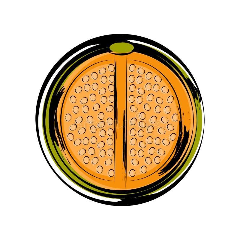 Skissa av en främre sikt av en klippt melo stock illustrationer
