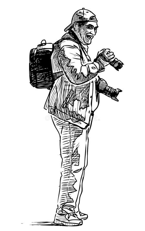 Skissa av en gladlynt yrkesmässig fotograf vektor illustrationer